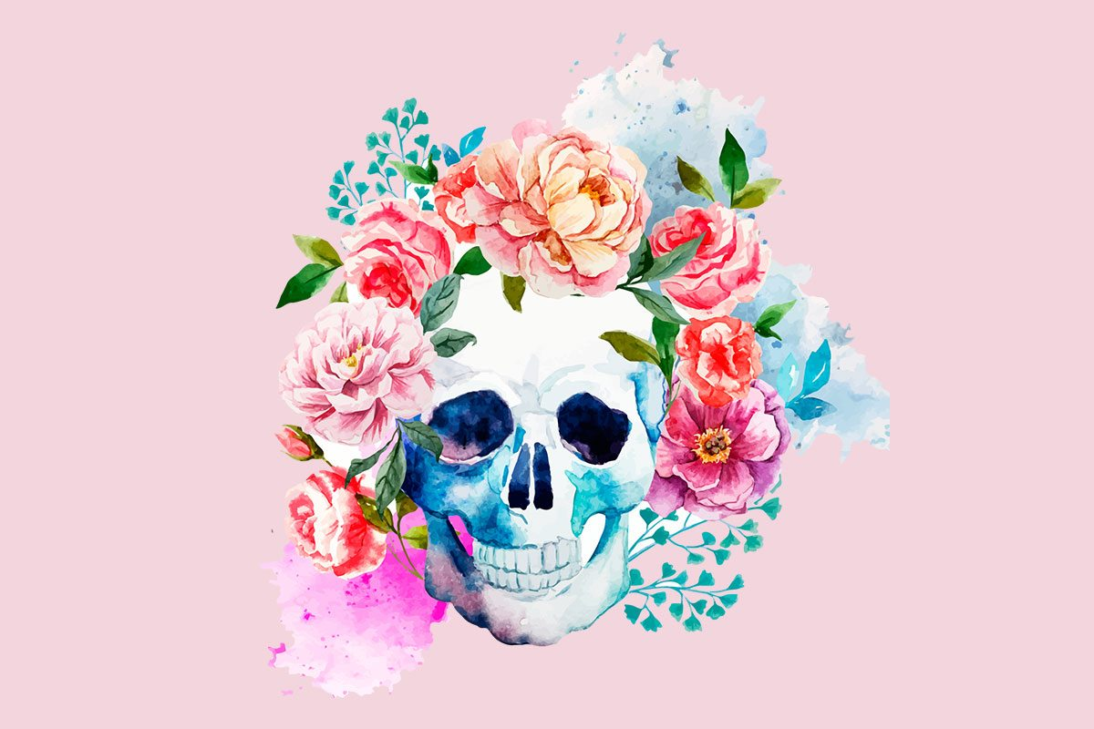 Skull With Flowers